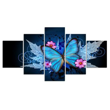 5 Piece Butterfly Leaves Autumn Flower Blossom Canvas Panel Picture Print