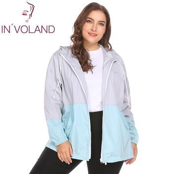 Trendy IN'VOLAND Women Raincoat Jacket Plus Size XL-5XL Lightweight Hooded Drawstring Patchwork Waterproof Large Basic Coat Plus Size AT_94_13