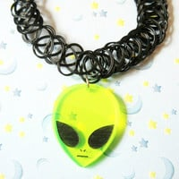 Alien Black Tattoo Choker, 90s Outer Space Acrylic Alien Tattoo Choker