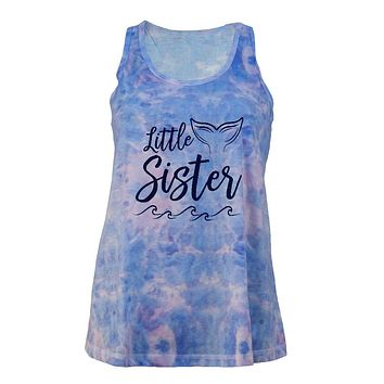 Little Sister Mermaid Tail Ocean Juniors Tie Dye Tank Top