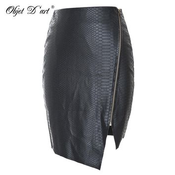 Hot Sale 2017 Vintage High-waist Pencil PU Leather Skirt Women Casual Plus Size Clothing Elegant Fitness Black Lady Midi Skirt