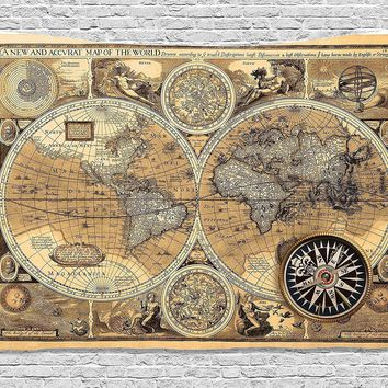 Vintage 1600 Historical Manuscript Map Fabric Wall Tapestry