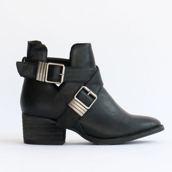 Black Pride Buckle Cut Out Ankle Boots