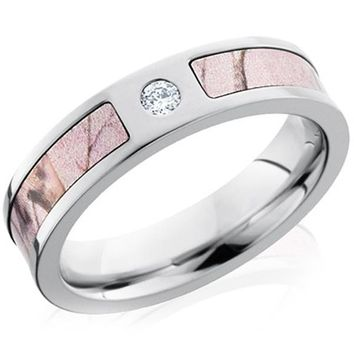Lashbrook Realtree Pink Camo Diamond Wedding Ring