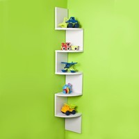 Large Corner Wall Mount Shelf - White Laminate