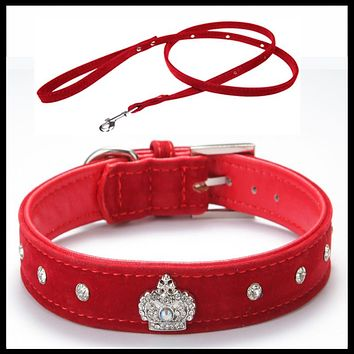 Free shipping Material Adjustable necklace Rhinestones Pet Cat Dog Crown Collar Soft Velvet Leash and Collar set  XS S M L