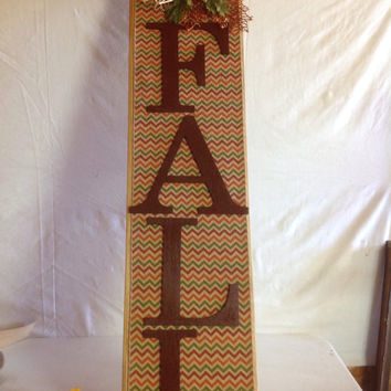 Fall Chevron Wall Sign Decor made from repurposed wood, Bright Fall Colorrd Chevron-material, fall foliage, sequined leaves, raffia