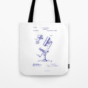 Microscope Vintage Technical Patent Drawing Tote Bag by Oona Lee Vintage