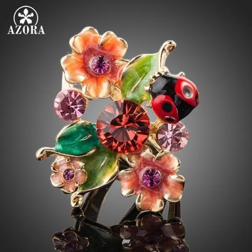AZORA Gold Color Stellux Austrian Crystal Multicolour Insects and Flower Ring TR0087