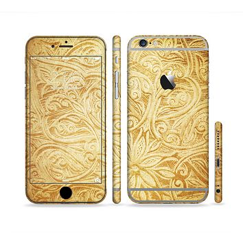 The Vintage Antique Gold Grunge Pattern Sectioned Skin Series for the Apple iPhone 6 Plus