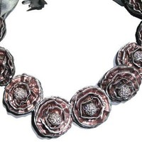 Deluxe Light Rose 9 Upcycled Rosa bib necklace