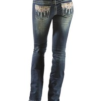 Grace in L.A. Multi Colored Tribal Embroidered Jeans - Sheplers