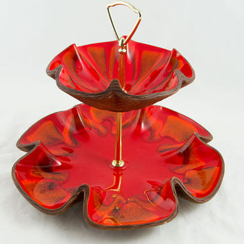 Two Tier Cookie Candy Appetizer Tree Serving Dish in Red & Orange - Retro Home, Vintage Holiday