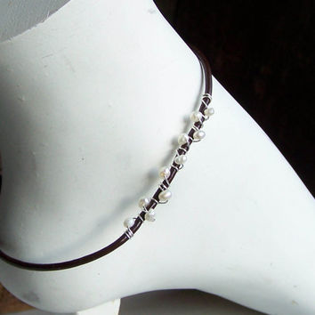Etsy, Etsy Jewelry, Beaded Anklet, Freshwater Pearl Anklet, Leather and Pearls, Leather Anklet, Wire Wrapped Anklet, Pearl Anklet