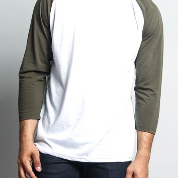 Men's Baseball T-Shirt TS900 (White/Olive) - B12C