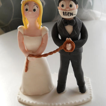 Funny Wedding Couple fondant cake topper with yes subtitle