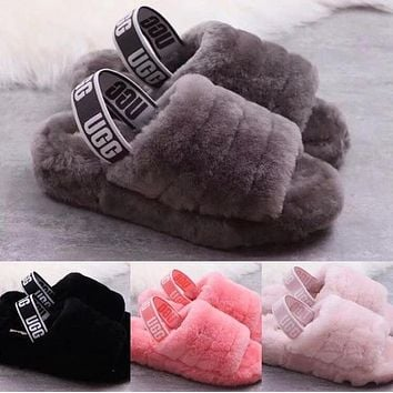 Hight Quality UGG Slippers Warm and fluffy New Women's Fashion Fluff Yeah Slipper Slide Pink