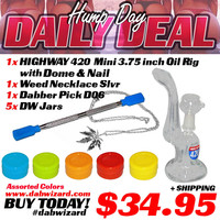 DAILY DEAL 04/01/2015 - 1x Highway 420 mini Oil Rig with Dome & Nail + 1x Weed Necklace Silver + 1x Dabber Pick D06 + 5x DW Jars