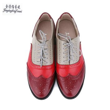 New 2017 Oxfords Genuine Leather Women's Vintage Wing Tip scarpe donna Casual Shoes Hotsales 21-27CM Big Size Women Oxford Shoes