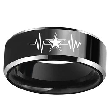 Hot Sales 8MM Dallas Cowboys Heart Beat Design Men's Black With Silver Tungsten Rings for Women Wedding Band