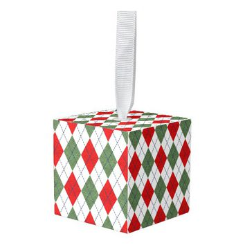 Geometric Holiday Colors Cube Ornament