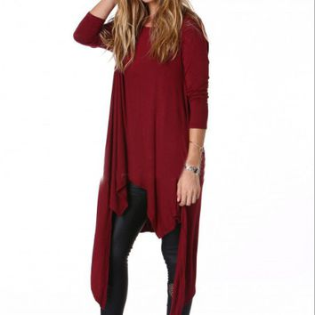 Red Drape Asymmetrical Long Sleeve Shirt
