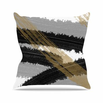 Black and Gold Brush Strokes - Black Gold Abstract Painting Throw Pillow