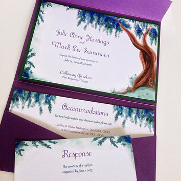 "Watercolor Wedding Pocketfold Invitation Set - Watercolor Invitation Kit Deposit ""Wisteria Tree"" Wedding Accommodation RSVP Reception Card"