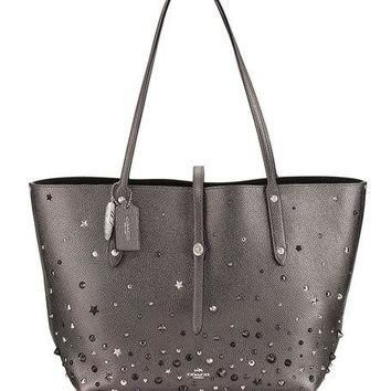 Coach Market Studded Leather Tote Bag, Metallic Graphite