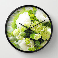 Bouquet from different white seasonal flowers Wall Clock by Yumehana Design Fine Art Photography