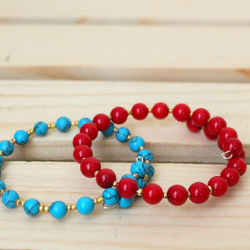 Stacking Bracelet Set. Turquoise and Red Bracelets. Gemstone Bracelets. Wrap Bracelets. Cuff Bracelet. Bangle Bracelet. Stackable Bracelets
