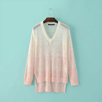Stylish Hollow Out Gradient V-neck Long Sleeve Pullover Tops Sweater [6332330820]