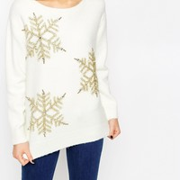 ASOS PETITE Christmas Jumper with Snowflakes at asos.com
