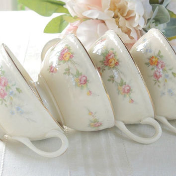 On Sale Homer Laughlin Tea Cups Set of 4 Eggshell Georgian Vintage Cottage Chic Tea Party , Shabby Chic,Wedding Bridal