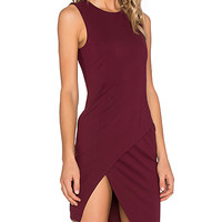 Asymmetrical Mini Dress in Wine