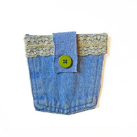 Blue Jean Purse With Green Button - Denim Purse - Denim Bag - Jean Purse - Blue Purse - Jean Pocket Pouch - Jean Pouch - Jean Bag - Upcycled