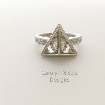 Circle in Triangle Engagement  Ring by Carolyn Nicole Designs