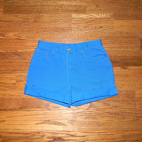 Vintage Denim Cut Offs - 90s Electric Turquoise Blue Jean Shorts - High Waisted Cut Off/Frayed Short Shorts by Bill Blass - Size 11/12