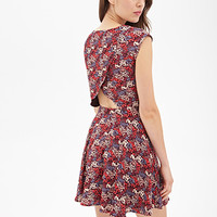 LOVE 21 Floral Tulip Back Dress Wine/Red