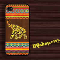 Elephant aztec Geometric woodeb - Elephant Aztec wooden love - iPhone 4 Case iPhone 4s Case iPhone 5 Case