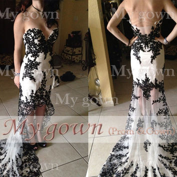 2014 Lace Prom Dress,Strapless Hi-low Gown Rich Beaded Lace Applique Black/White Prom Dress, Cocktail Dress,Dresses,Wedding Dress,Gown