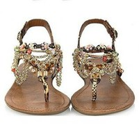 Alloy Chain and Beaded Rainbow Color Sandals