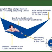 """Hammock Bliss Ultralight - Only 13 oz - Quality You Can Trust - Compact Portable Camping Adventure Hammock - 80"""" Rope Included Per Side"""
