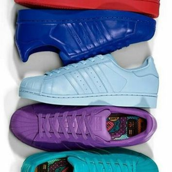 Adidas Fashion Shell-toe Flats Sneakers Sport Shoes Pure color