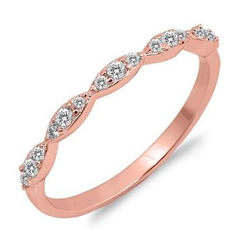 14K Rose Gold 1.43TCW Russian Lab Diamond Wedding Band Ring