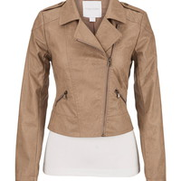 Camel Asymmetrical Zip Jacket - Beige
