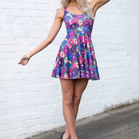 Peeking Peonies Scoop Skater Dress - LIMITED