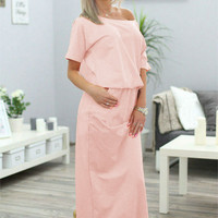 One Off Shoulder Split Maxi Dress