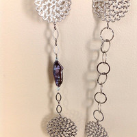Asymetrical long silver necklace with rectangular Keishi peacock pearls /  Mothers day gift / office fashion necklace
