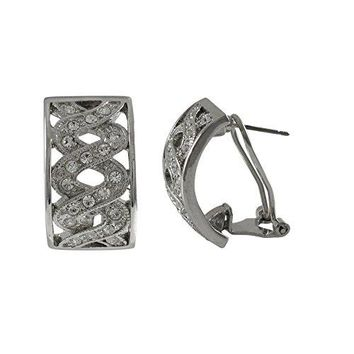 Isaac Kieran Rhodium Finish Pave Crystals Double Helix Huggie Earrings